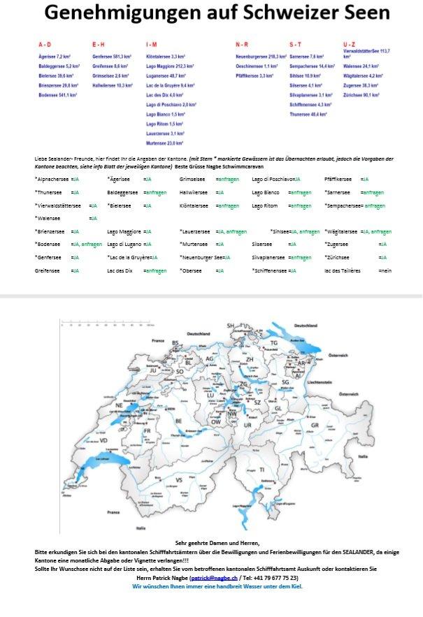 Bewilligungen auf Schweizer Gewässern