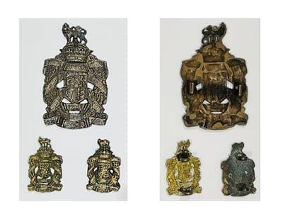 First Pattern Officer's Service Dress Headdress Badge & Voided Collar Badges