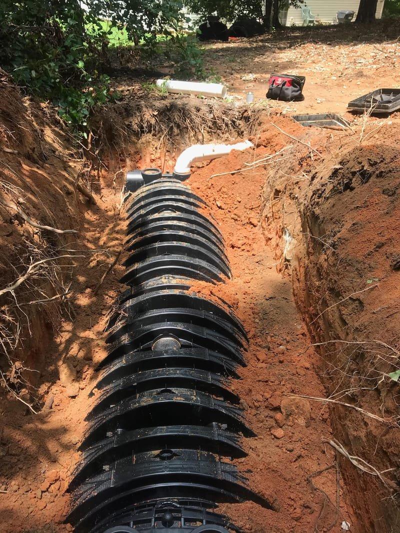 Septic drain field installation