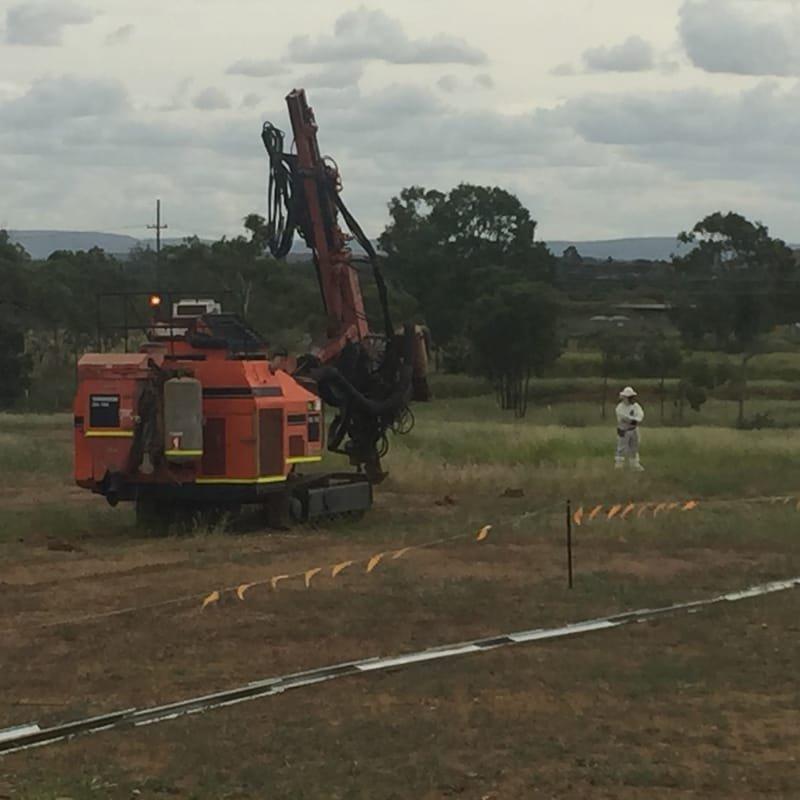 Solar Farm Pre Drilling For Piling.