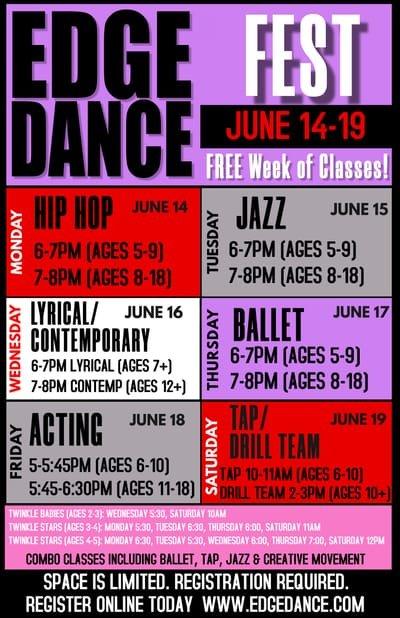 edge dance fest 2021 classes for ages 5-18yrs