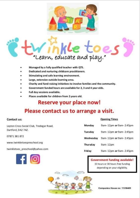 Twinkle Toes - places available from children age 2 upwards