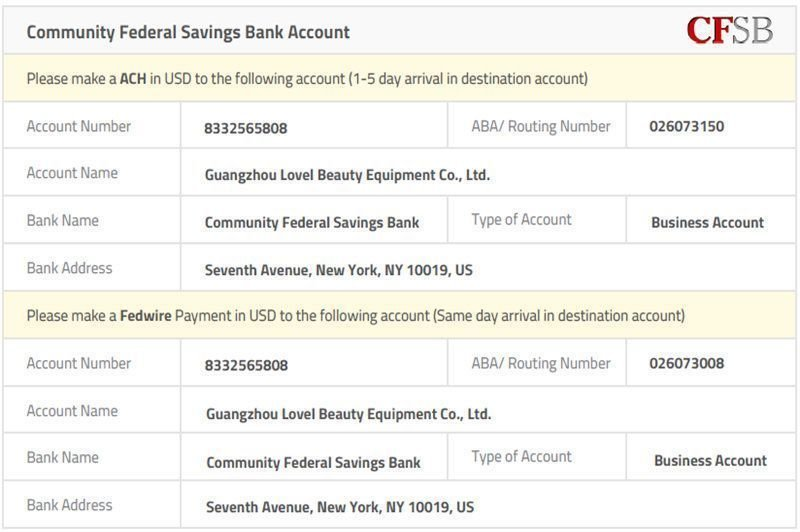 Company Bank Account for USA Customers Only.