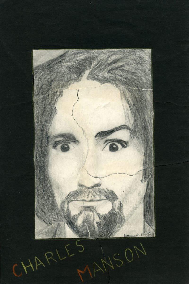 Charles Manson (d'après photo de presse) Ce dessin a été déchiré par ma mère qui estimait que je perdais mon temps à dessiner...