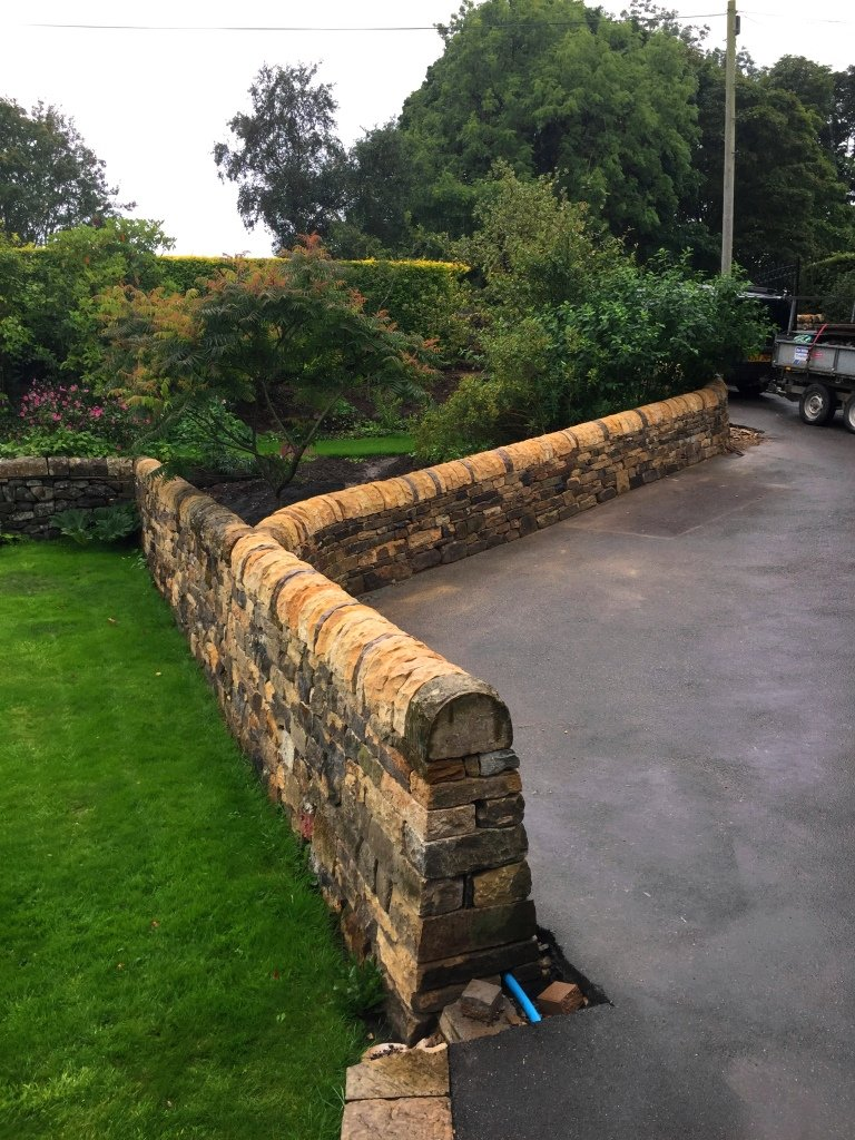 Entrance, driveway and garden walls