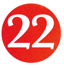 NUMBER 22 RED/GOLD