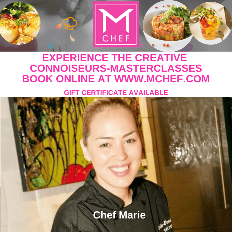 Have fun learning how to cook with Chef Marie while tasting GREAT FOOD!