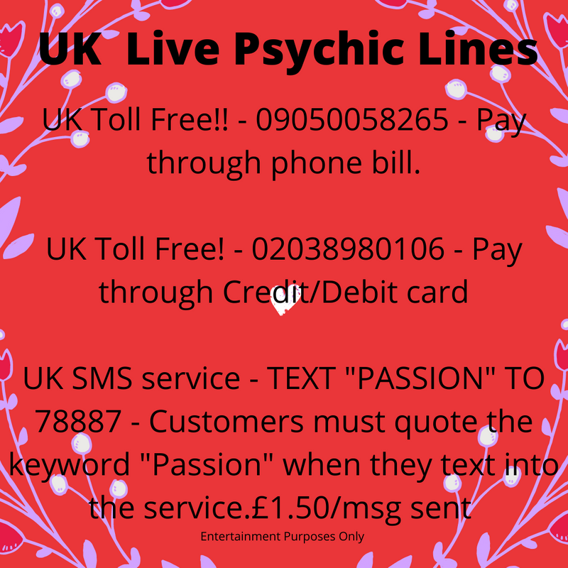 UK /IRELAND LIVE PSYCHIC LINES  TOLL FREE! 02038980106