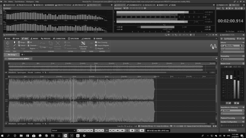 Hi quality 192/64 mastering with Wave Lab PRO, Fab Filter and UAD plugins.