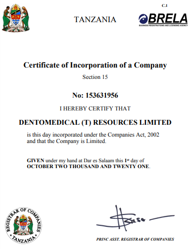 CERTIFICATE OF INCORPORATION N0; 153631956
