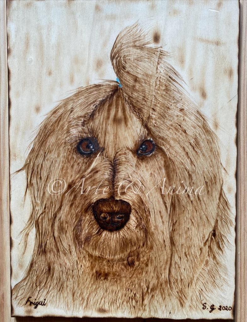 """Ritratto Fregui su legno  compensato A4 con pirografo """"occhI"""" colori Caran d'ache Luminance"""