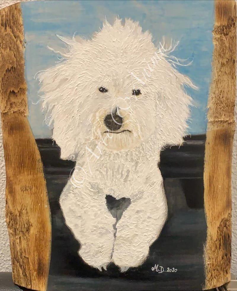 Ritratto in acrilico su legno grezzo A3 e pastelli Rembrandt