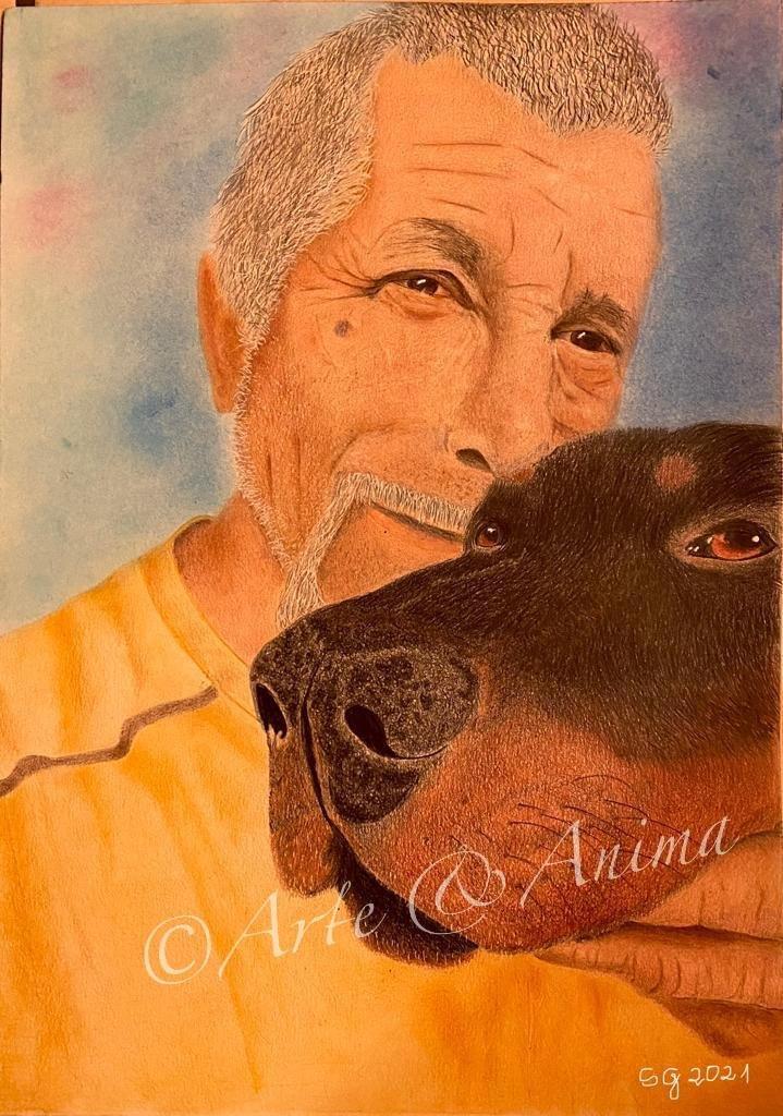 Ritratto su carta A3 2 soggetti con colori Caran d' Ache Luminance e pastelli Rembrandt