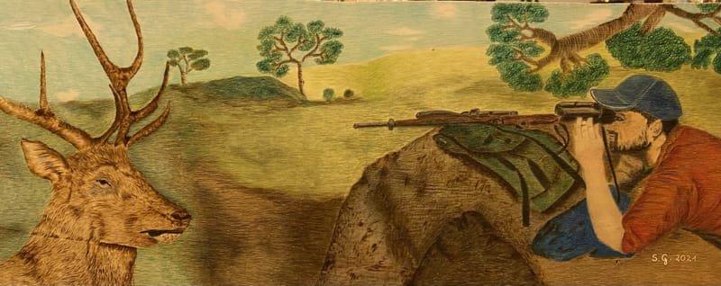 disegno a fantasia cacciatore con cervo e paesaggio