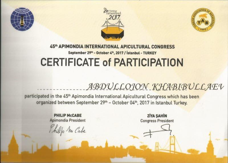 Сертификат участии в Apimondia 2017 (Istambul)