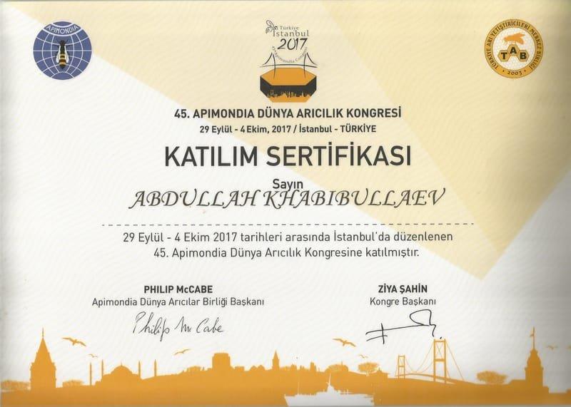 Сертификат участии в Apimondia 2017 (Istambul) на Турецком языке