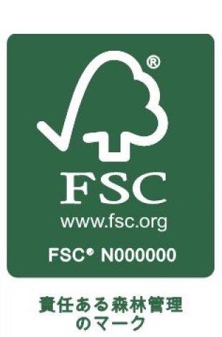 森を守るマーク 森林認証制度FSC® リサイクル材料を使用した紙を使っています。