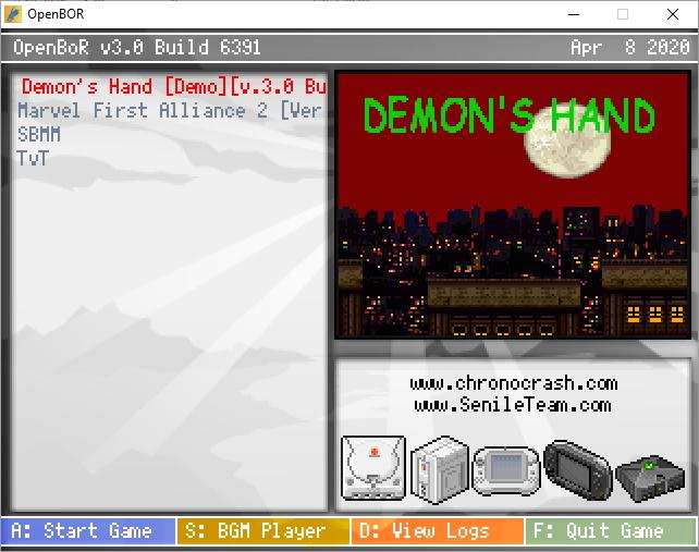 Demon's Hand   OpenBoR Game Pack