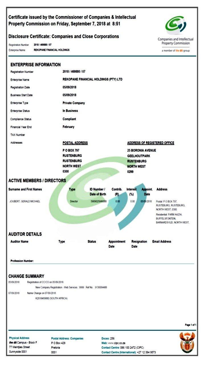 Rekopane Financial Holdings