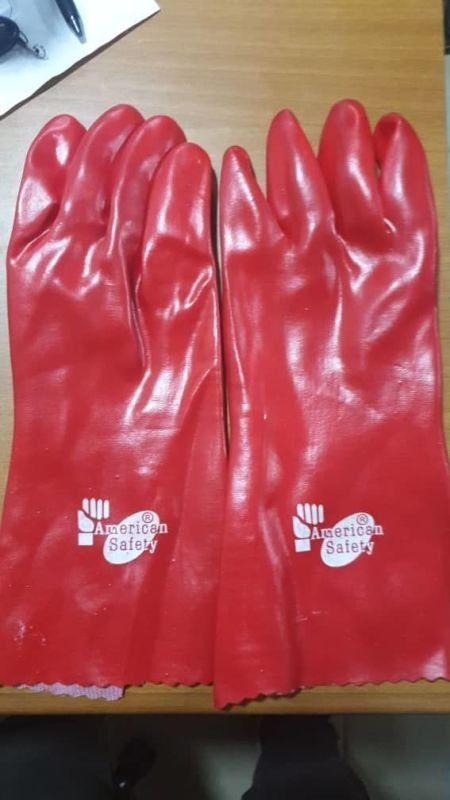 Red Rubber Safety Hand Gloves.
