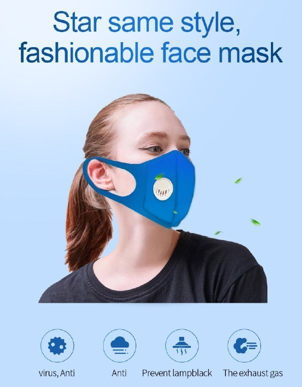 Washable Re-Usable Polyurethane Face / Nose Mask Respirator with Breather Valve. (Sold Out)