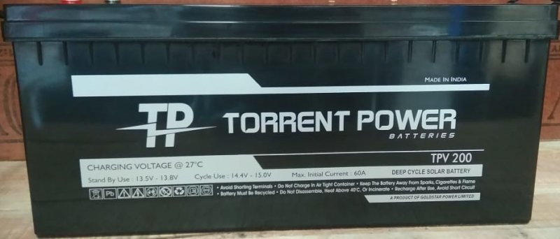 Torrent Power SMF Batteries 200 Ah (12 Months Warranty) Made in India.