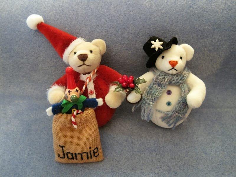 Santa and Snowman Christmas tree bauble bears