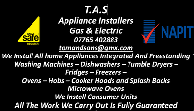We sell and install all domestic appliances