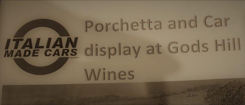 Italian Made Cars-Porchetta and Display Day at God's Hill Winery