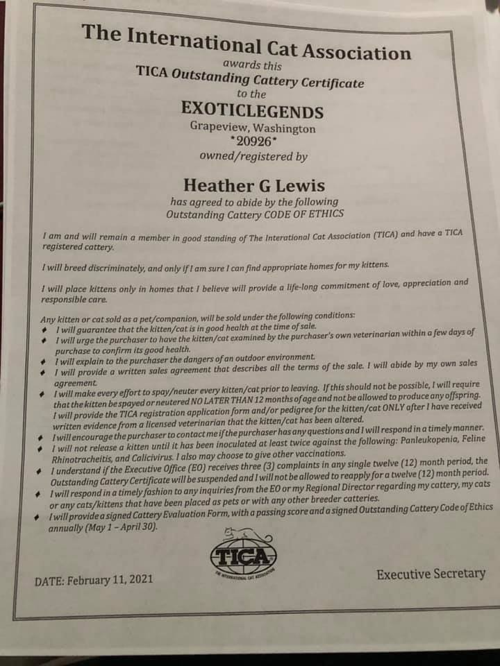 2021 - 2022 Outstanding Cattery Code of Ethics