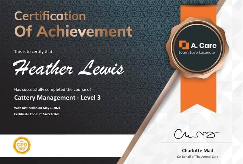 CERTIFICATE - Cattery Management - Level 3