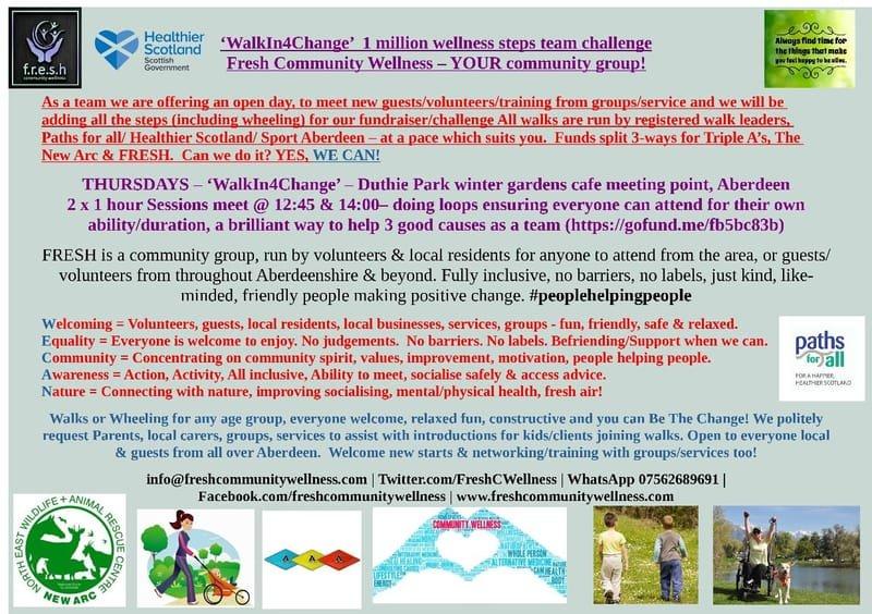 THU 1pm  – 'WalkIn4Change' – Duthie Park winter gardens café meeting point, Aberdeen