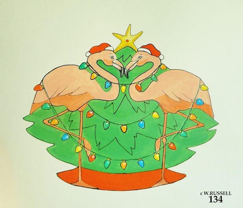 Flamingo Holiday Ornament Concept