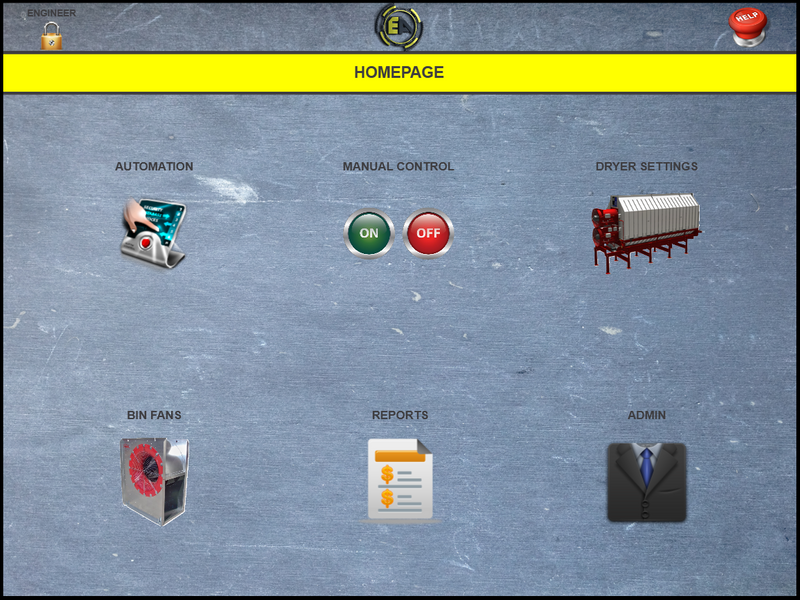 The Homepage of our control screen