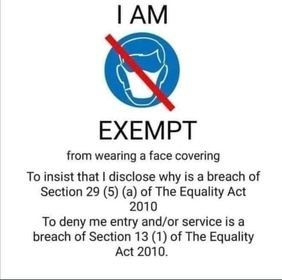 EXEMPTION FROM MASK WEARING