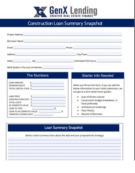 1 PAGE CONSTRUCTION LOAN SUMMARY