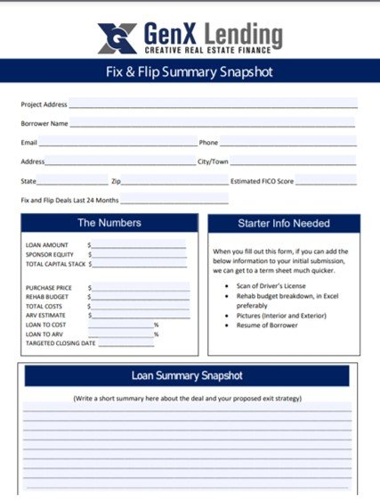 1 PAGE FIX AND FLIP LOAN SUMMARY