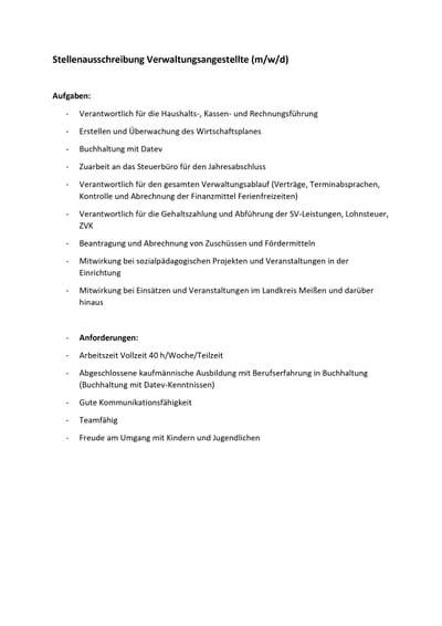 Stellenausschreibung - Verwaltungsangestellte*r
