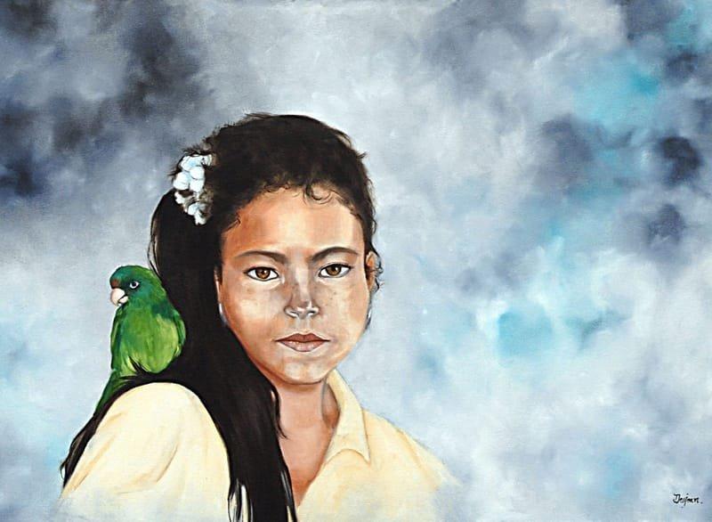 Jeune Mexicaine au perroquet